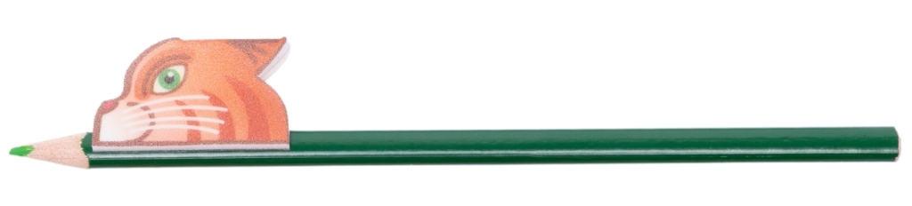 Cat Noggins on green pencil